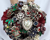 BALANCE Payment RESERVED for Whitney Bridal Brooch Bouquet and Boutonniere Winter Burgundy Navy Wedding