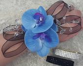 BOXED Real Touch Soft Blue Phalaenopsis Orchids, Crystals, Wired Ribbon Accent Rhinestone Wrist Corsage MATCHING Boutonniere / Hair Pin
