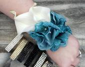 BOXED Real Touch White Calla Lily, Teal Velvet Silk Hydrangea Pearls, Crystals Rhinestone Corsage MATCHING Boutonniere / Hair Pin