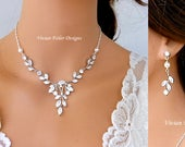 BRIDAL Jewelry SET VINE Pearl Marquise Wedding Necklace and Earrings Bridal Necklace Jewelry Cubic Zirconia Sterling Silver