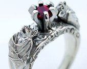 Bat Ring Bat Jewelry Silver Bat Ring Gothic Jewelry Gothic Rings Ruby Rings Bats Animal Rings Goth Engagement Gothic Ring Vampire Ring Goth