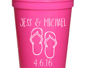 Beach Wedding Favors Personalized Wedding Cups, Destination Wedding Favors for Guests, Engagement Party Cups, 16 oz. Stadium Cups