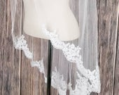 Beaded Alencon Lace Fingertip Length Veil with Pencil Edge Alencon Lace Edge Veil, Alencon Veils, Wedding Veils with Lace and Bugle Beads