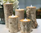 Birch Bark Log Candle Holders Centerpiece Set of 5 Votive Tea Light Rustic Chic Wedding Centerpiece