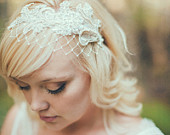 Birdcage Veil, Ivory English Net, Merry Widow Veiling, Bridal Birdcage Veil Headband, Wide Net Veil, Lace Headband Veil, Pearl Lace 109BC