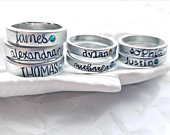 Birthstone Mothers Ring Stacking Ring Pewter Name Ring Name and Birthstone Ring Personalized Gift 3mm or 4mm Wide Band