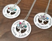 Birthstone Necklace For Mom Mothers Necklace Family Tree Necklace Mother Necklace Personalized Mothers Necklace Gift For Mom Mom