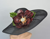 Black Wedding Hat Real Touch Magnolia Kentucky Derby Hat Fascinator Wedding Accessory Cocktail Hat