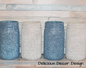 Blue And White Mason Jars/Frozen Birthday decorations/Frozen Table Centerpieces/Glitter Mason Jars/Winter Wonderland Decor/Frozen Theme.