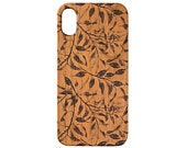 Blue Leaves iPhone 11 Pro Max iPhone X XR XS Max iPhone 8 Plus Samsung Galaxy S10 Plus Note 10 Plus Real Natural Wood Phone Case