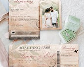 Boarding Pass Collection! DIY Printable Wedding Invitation Suite, Editable Template, Destination Weddings, Vintage Travel Theme