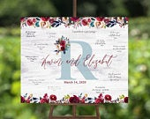 Bohemian Wedding Guest Book Alternative Sign Burgundy and dusty blue boho Guest Book Alternative wood canvas poster guest book board sign