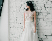 Bohemian wedding dress Navia/Beach lace wedding dress/Unique simple wedding dress/Chiffon rustic Fairy wedding dress/Hochzeitskleid/Couture