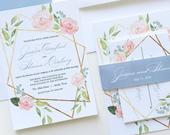 Boho Wedding Invite with Belly Band Wrap, Gold and Pink Floral Wedding Invitation, Summer Wedding Invite, Romantic Flower Wedding Invite
