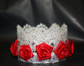 Boutique Silver Lace Crown/ Tiara w/ Rhinestones and Craft Roses 2 H x 3 W Photo Prop Wedding