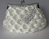Bridal Clutch Ivory satin with Swarovski Crystal feather brooch. Wedding handbag.