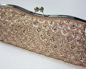 Bridal Clutch hand beaded champagne satin with beads and sequins. Braids Maid gift. ready to ship.