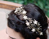 Bridal Headpiece, CHLOE Bridal Headband, Wedding Hair Vine, Bridal Ribbon Headband, Swarovski Crystal Headband, Gold Bridal Pearl Headpiece