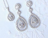 Bridal Jewelry Set Sterling Cubic Zirconia Pear Drop Earrings Bracelet Necklace Best Bridal Wedding Jewelry Set