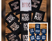 Bridal Party Can Cooler, Bride/Groom can holder, Bridesmaid gifts,Groomsmen can coolers, Best Man gifts, Custom Bridal Favor, Wedding Favors