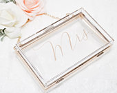 Bridal Purse Bridesmaid Clutch Mrs. Purse Bride Purse for Wedding Clear Purse