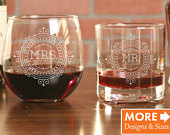 Bridal Shower Gift, Engagement Gifts for Couple, Mr and Mrs Glasses, Wedding Glasses, Whiskey Glasses, Glass Set, His and Hers Glasses, Wine