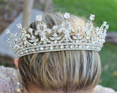 Bridal Tiara QUEEN VICTORIA Tiara Royal Bridal Crystal Wedding Crown Rhinestone Tiara Wedding Tiara Diamante Crown,Swarovski Crystal Tiara