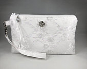 Bridal White Lace Wristlet PurseIridescent Lace Wristlet, Purse, Clutch, Evening Bag for Bride, Bridesmaid, Formal, Make Up Bag