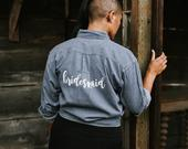 Bridal party chambray shirts.Bridesmaid denim shirt.Winter wedding flannel shirts.Customized long sleeve shirts.bridesmaid gift.