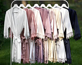Bridesmaid Robes Satin Lace Robe Bridal Robes Lace Bridesmaids Gifts Bride Robe Wedding Party Gifts Dressing Gown Wedding Robe