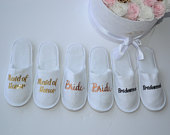 Bridesmaid Slippers, Customized Slippers , Terry White Slippers, Bridesmaid Gifts, Customized Slippers , Personalized Slippers