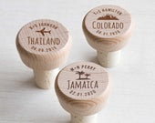 Bulk Personalized Destination Wedding Wine Stoppers by Lifetime Creations: Engraved Destination Wedding Wine Stopper Favors, Wedding Favors
