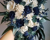 Cascade Bouquet Bridal Navy Blue Champagne Sola Wood and dried Flowers Bridesmaids Set Boho Rustic Wildflower Style 228