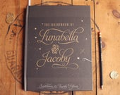 Celestial Wedding Guest Book, Starry Night Guest Book, Calligraphy Guest Book, Gray and Gold, Bridal Shower Gift, Photo Guest Book
