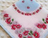 Charming Vintage Floral Hankie Handkerchief Blue Center Red Pink Flowers Wedding or Shower Favor Printed Hanky Shabby Cottage Chic Decor