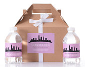 Cleveland Wedding Favor Boxes Hotel Welcome Box Kits with Matching Water Bottle Labels City Skyline Favor Box Custom Welcome Box Sets