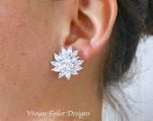 Clip On Bridal Earrings, Wedding Earrings, Cluster Earrings Wedding Cubic Zirconia