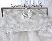 Clutch Purse, Full Crystal Rhinestone Mesh, Gift for her, BLING, Silver Crystal Handbag, Bridal Wedding Evening bag, For a Bride, STUNNING