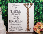 Cord Of Three Strands, Wedding Sign, Ceremony Sign, Wood Sign, Ecclesiastes, Wedding Gift, Fall Wedding, Unity Braids, Wedding Decor Sign