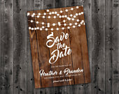 Country Save the Date Printed Wedding Save The Date, Affordable, Cheap, Wedding Invitations, Lights, Calendar, Wood, Rustic, Postcard