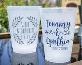 Couples Shower Cups, Custom Frosted Plastic Cups, Engagement Party Cups, Wedding Shower Cups, Personalized Shatterproof Cups, Wedding Cups