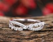 Cross diamond wedding band 14k white gold,curved ring for women,delicate pear shape ring,anniversary gift for her