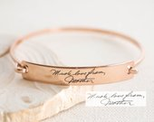 Custom Actual Handwriting Jewelry Handwriting Bangle Engrave Signature Bracelet Sentimental Gift Mother Gift GRANDMA GIFT BM25
