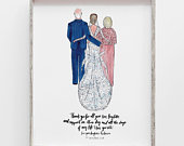 Custom Family Wedding gift to or from Bride, daughter, Mother of Bride, groom, father / Drawing print, family illustration, personalized