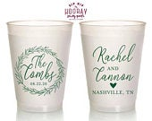 Custom Frosted Wedding Cups, Personalized Wreath, Reusable, Heart Design, 16oz, Fall Wedding, Rehearsal Dinner Favors, Personalized Cup 1984