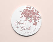 Custom Letterpress Paper Coasters Floral Whimsy Personalized Unique Wedding Favors Wedding Decor Save the Date 4 Round