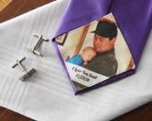 Custom Photo Tie Patch Label Groom Gift Favors Father of the Groom I Love You Dad Anniversary Present Love Note Father of Bride