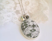 Custom Wedding Dress Memory Necklace / Silver / From Your Fabric / Keepsake Necklace / Mother of the Bride Gift or Sister Best Friend