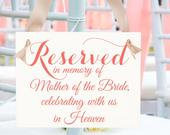 Custom Wedding Memorial Chair Sign Personalized Memorial Sign Reserved In Memory Of (Custom Name) Celebrating With Us In Heaven Seat Banner