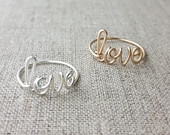 Dainty Love Ring, Or any Four Letter Word, Handcrafted in Wire, Sterling Silver or 14K Gold Filled Any Size, Bridesmaid Gift, Anniversary